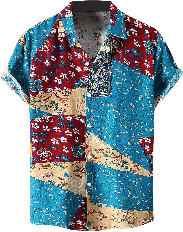 Mens Tops, Mens Hawaiian Aloha Beach Shirt - Hawaiian Shirts for Men Print Button Down Shirt Vintage Linen Beach Tops