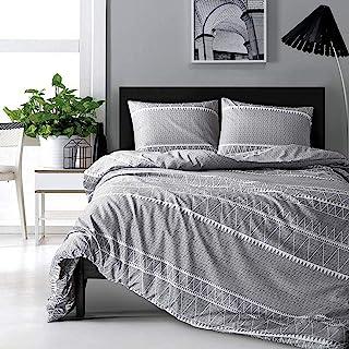 HYPREST Bohemian Queen Duvet Cover Set Lightweight Soft Grey Triangle 3PC Comforter Cover Set Hotel Quality Bedding Set - ...