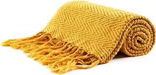 Longhui bedding Fringe Knit Cotton Throw Blanket, 50 x 63 Inches Decorative Knitted Cover with 6 Inches Tassels, Bonus Laundry Bag – 3.12lb Weight, Couch Blankets, Mustard Yellow