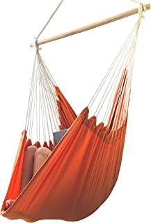 Hammock Chair by AOW - Tropical Color Extra Long Hanging Swing Seat - Perfect for Indoor Decoration Swing (Vitality Orange)