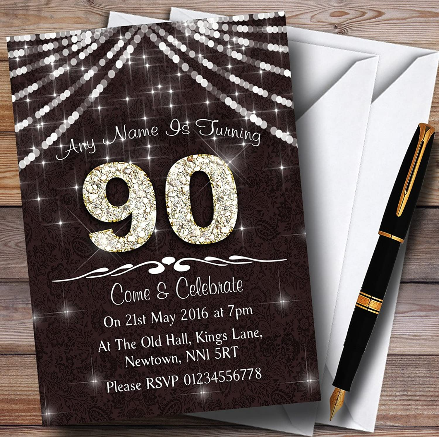 90Th Brown & White Bling Sparkle Birthday Party Personalised Invitations   Invites & Envelopes