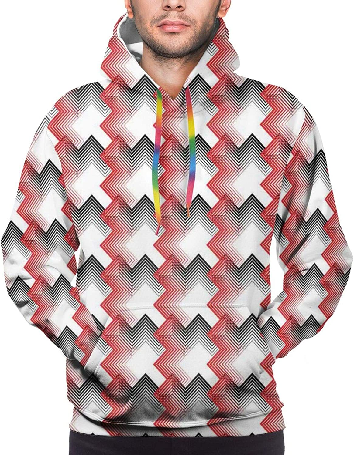 TENJONE Men's Hoodies Sweatshirts,Abstract Diagonal Checked Mosaic Pattern with Shabby Colored Squares and Lines