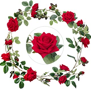 Greentime 5.9 FT Artificial Velvety Rose Vine Fake Silk Rose Flower Garland Faux Hanging Ivy Plants for Wedding Arch Home Garden Party Wall Decor (Red)