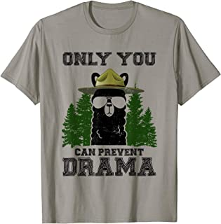 Llama Camping Only You Can Prevent Drama T-Shirt