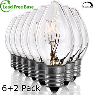 Salt Rock Lamp Bulb 6 Pack + 2 Free 15 Watt Replacement Bulbs for Himalayan Salt Lamps & Baskets, Chandeliers, Candle & Wax Warmers, Night Lights. Incandescent E12 Socket w/Candelabra Base, C7, Clear