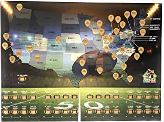 """Junkies Sports Maps Scratch-Off Football Map - Bucket List Tracking Poster, Man-Cave Decor, Bedroom Poster - 32 Stadiums, 32 Teams in The USA - Great Christmas and Birthday Gift Idea - 18""""x24"""""""
