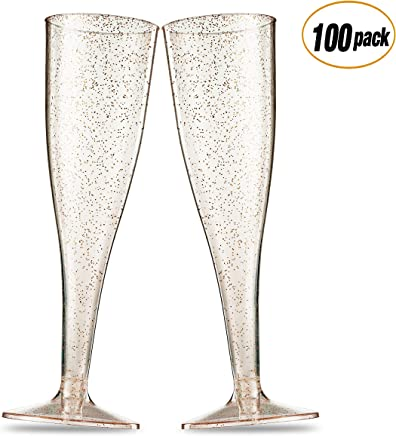 100 Pack Gold Glitter Plastic Champagne Flutes ~ 5 Oz Clear Plastic Toasting Glasses ~ Disposable Wedding Party Cocktail Cups