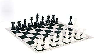 Quadruple Weight Tournament Chess Game Set - Chess Board Game with Staunton Ivory Chess Pieces, Black Vinyl Chess Board …