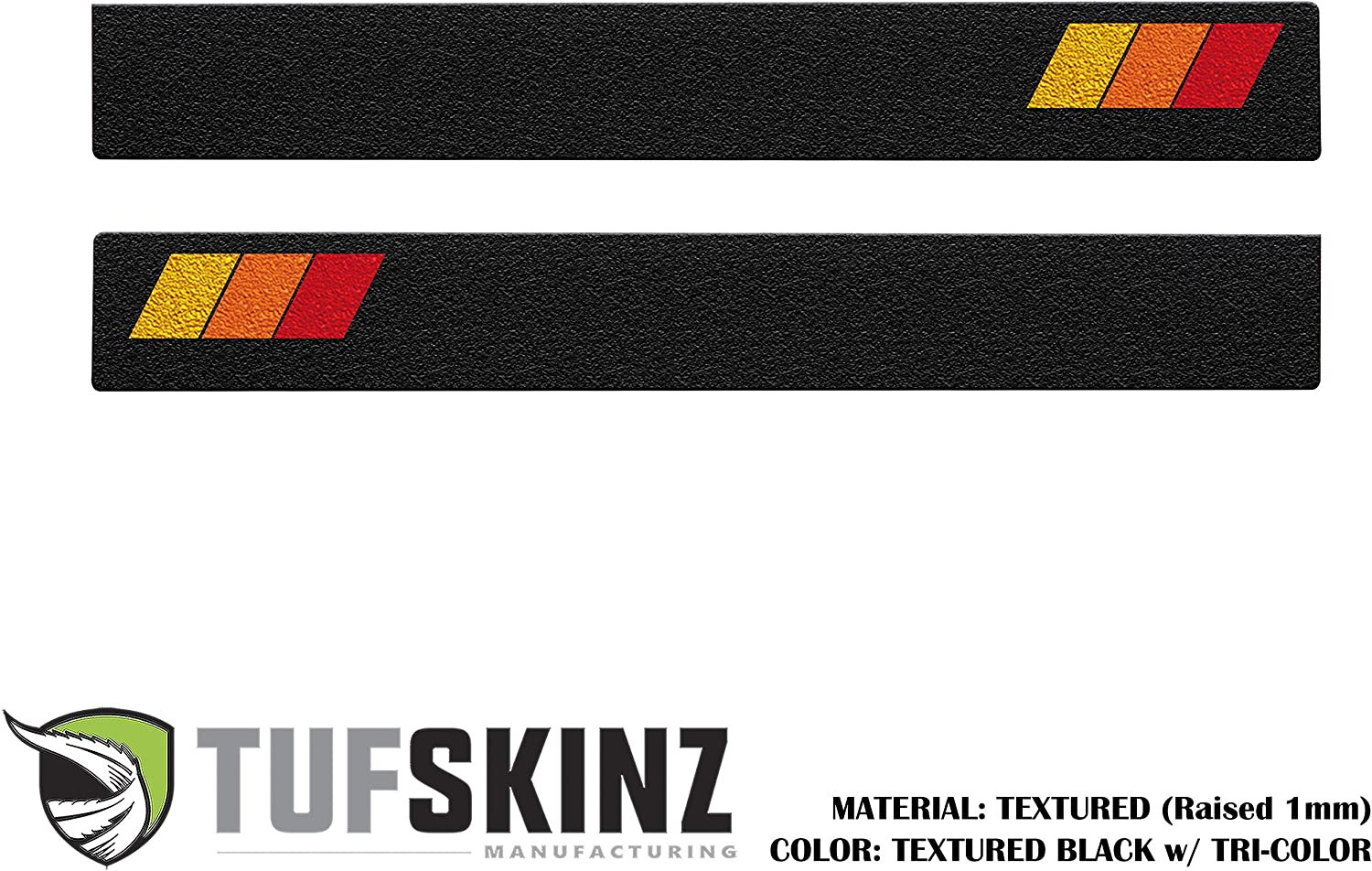 Door Sill Protection Front Doors, Black Textured w//Tri-Color Design Compatible with 2005-Up Tacoma 2 Piece Kit TufSkinz