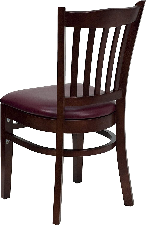 Flash Furniture 2 Pk Hercules Series Vertical Slat Back Cherry Wood Restaurant Chair Black Vinyl Seat