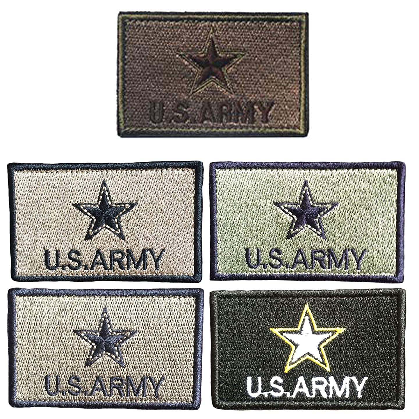 KISEER 5 Pieces Assorted Color US Army Velcro Patches Badges Fully Embroidered Tactical Military Morale Patches Set