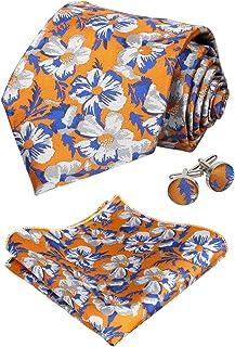 Alizeal Mens Solid Color Tie, Handkerchief and Cufflinks Set