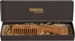 BodyHerbals Dressing Comb, Handle Rake comb, 100% Neem Wood, Hand Made with Design in Gift box (Cream)