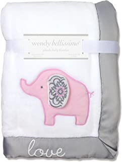 Wendy Bellissimo Super Soft Plush Baby Blanket (30x40) - Elephant Baby Blanket from The Elodie Collection in White & Grey