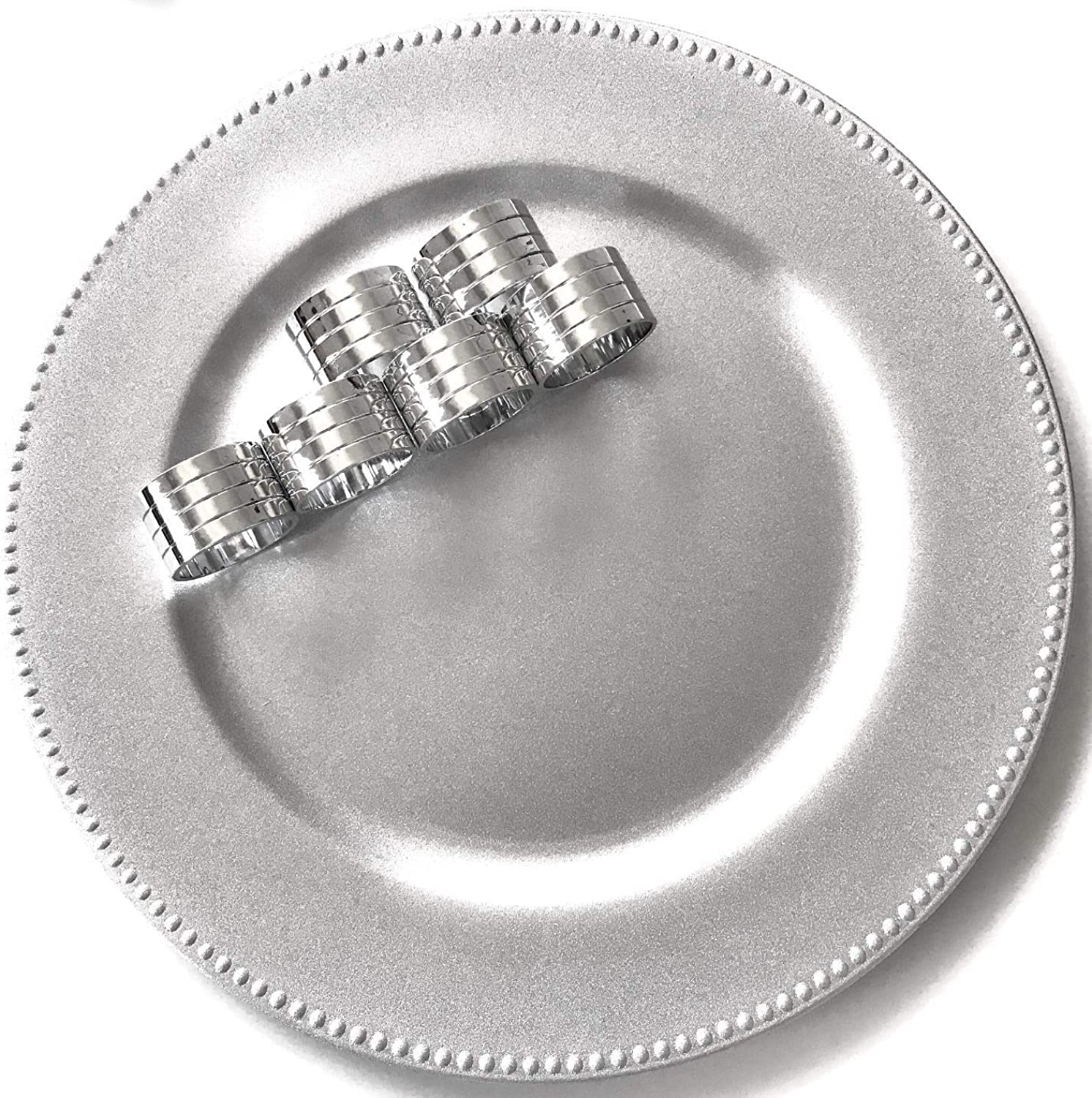 12 Silver Charger Plates (Plastic) with Beaded Rims 13  bundled with Round Silver Plastic Napkin Rings (Set of 12 Place Settings)