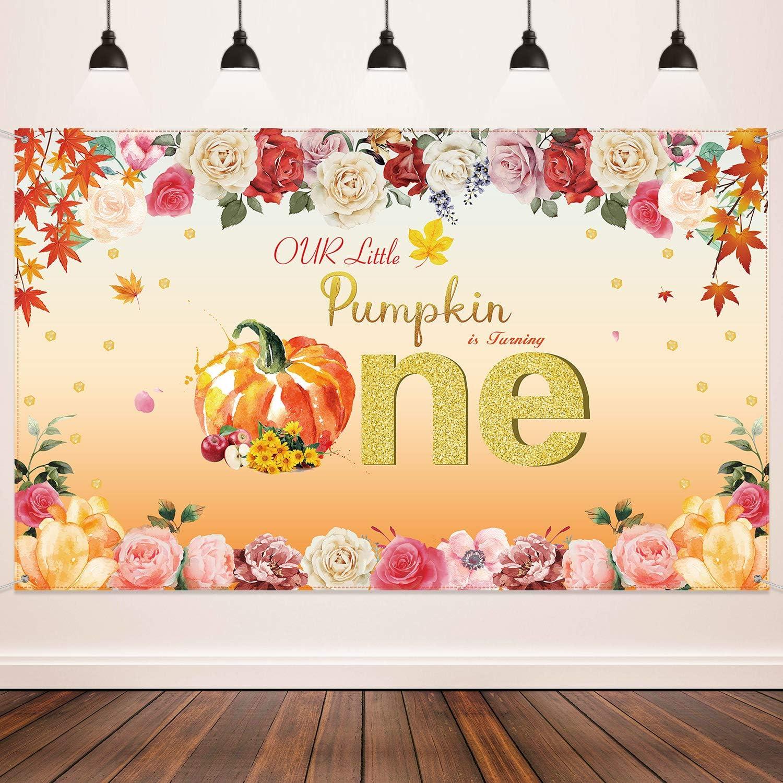 Pumpkin Birthday Party Decoration, Autumn Glitter Dot Flower Ban