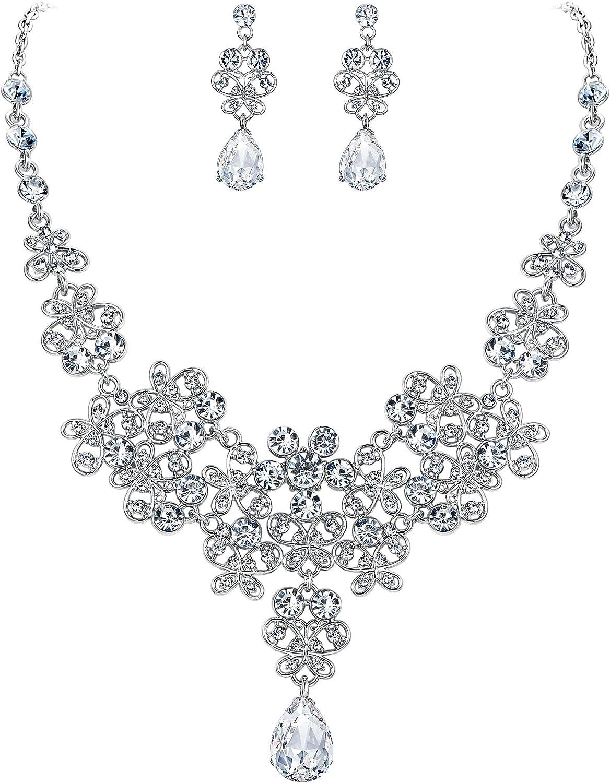 BriLove Wedding Bridal Jewelery Set for Women Rhinestone Butterfly Filigree Statement Necklace Dangle Earrings