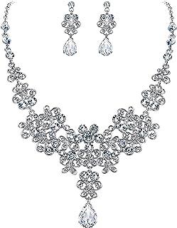 Clearine Wedding Bridal Jewelery Set for Women Rhinestone Butterfly Filigree Statement Necklace Dangle Earrings