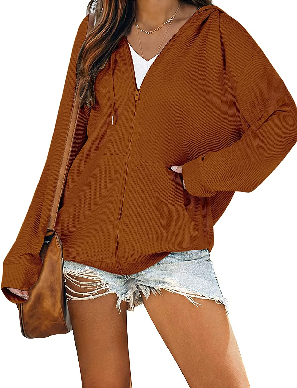 Cowasto Women's Casual Zip Up Hoodie Jacket Long Sleeve Waffle Hooded Sweatshirt With Pockets