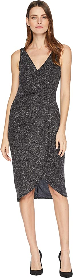 Multi Glitter Drape Front Cocktail Dress