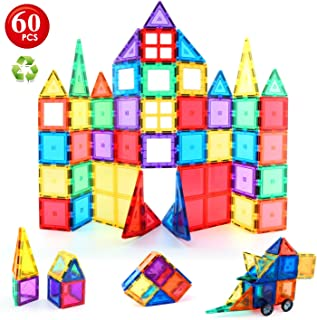 Children Hub 60pcs Magnetic Tiles Set - 3D Magnet Building Blocks - Premium Quality Educational Toys for Your Kids - Upgra...