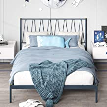Zinus Gemma Metal Double Bed Frame | Romantic Scandinavian Platform Bed Mattress Foundation | Steel Slats Bed in a Box