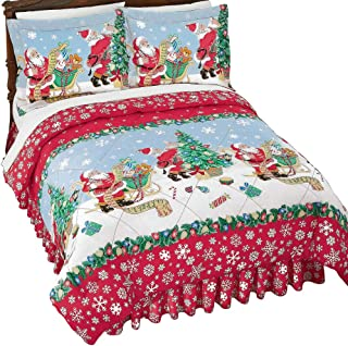 Collections Etc Vintage Santa with List and Presents Christmas Comforter Set with Pillow Shams and Matching Bed Skirt, Queen