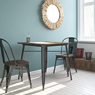 DHP Fusion Metal Square Dining Table with Wood Table Top, Black