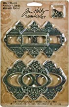 Metal Ornate Plates with Fasteners by Tim Holtz Idea-ology, 6 per Pack, 2-1/2 and 2-5/8 Inches Tall, Antique Finishes, TH92787