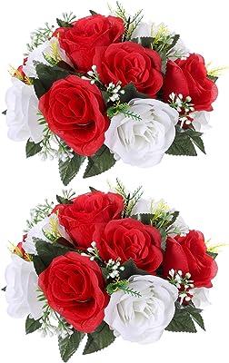 Paquete de 2 rosas artificiales de seda, rosas rojas de seda, con tallos de plástico, arreglo de bola, ramo de boda, centros de mesa, decoración de fiestas, 15 cabezas de flores rojas