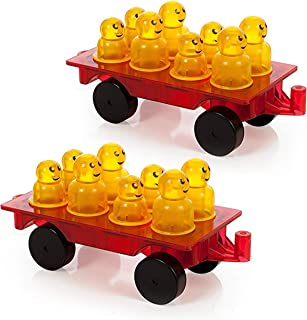 Magnetic Stick N Stack Award Winning Magnetic Tiles Accessories Set Includes 2 Wheel Car Bases and 16 Figures