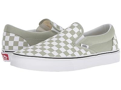 Vans Classic Slip-Ontm ((Checkerboard) Desert Sage/True White) Skate Shoes