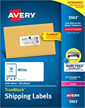 Avery Shipping Address Labels, Laser Printers, 2,500 Labels, 2x4 Labels, Permanent Adhesive, TrueBlock (5963), White