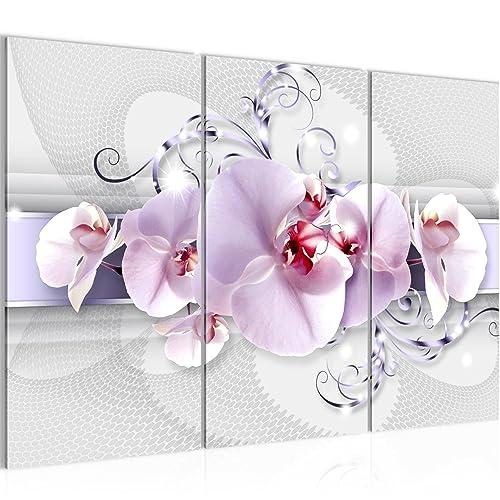 3 Teilige Wandbilder Blumen 120x80cm Amazon De