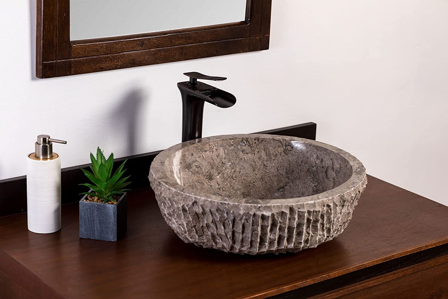 Natural Stone Deluxe Vessel Bathroom Sink Goleta Marble - Large discharge sale Ab Chiseled