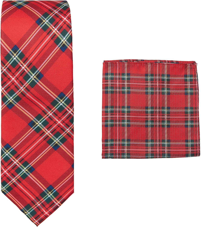 Jacob Alexander Red Christmas Plaid Men's Slim Neck Tie and Pocket Square Set