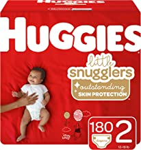 Huggies Little Snugglers Baby Diapers, Size 2 (up to 12-18 lb.), Economy Plus Pack, 180 Count (Packaging May Vary)
