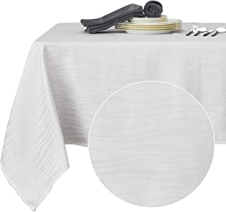 Deconovo Decorative Jacquard Tablecloth Vibrant Waves Oblong Wrinkle Resistant and Waterproof Tablecloths for Kitchen 54 X 108 Inch White