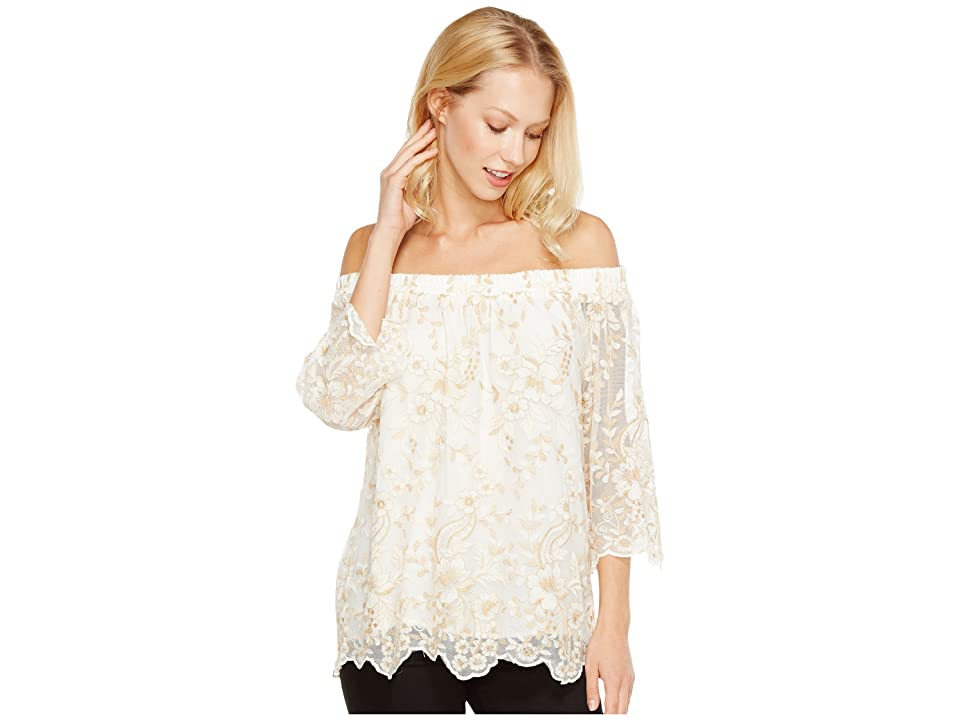 Karen Kane Off the Shoulder Embroidery Top (Cream) Women