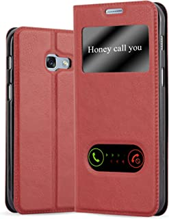 Cadorabo Book Case Works with Samsung Galaxy A5 2017 in Saffron RED – with Magnetic Closure, 2 Viewing Windows and Stand Function – Wallet Etui Cover Pouch PU Leather Flip