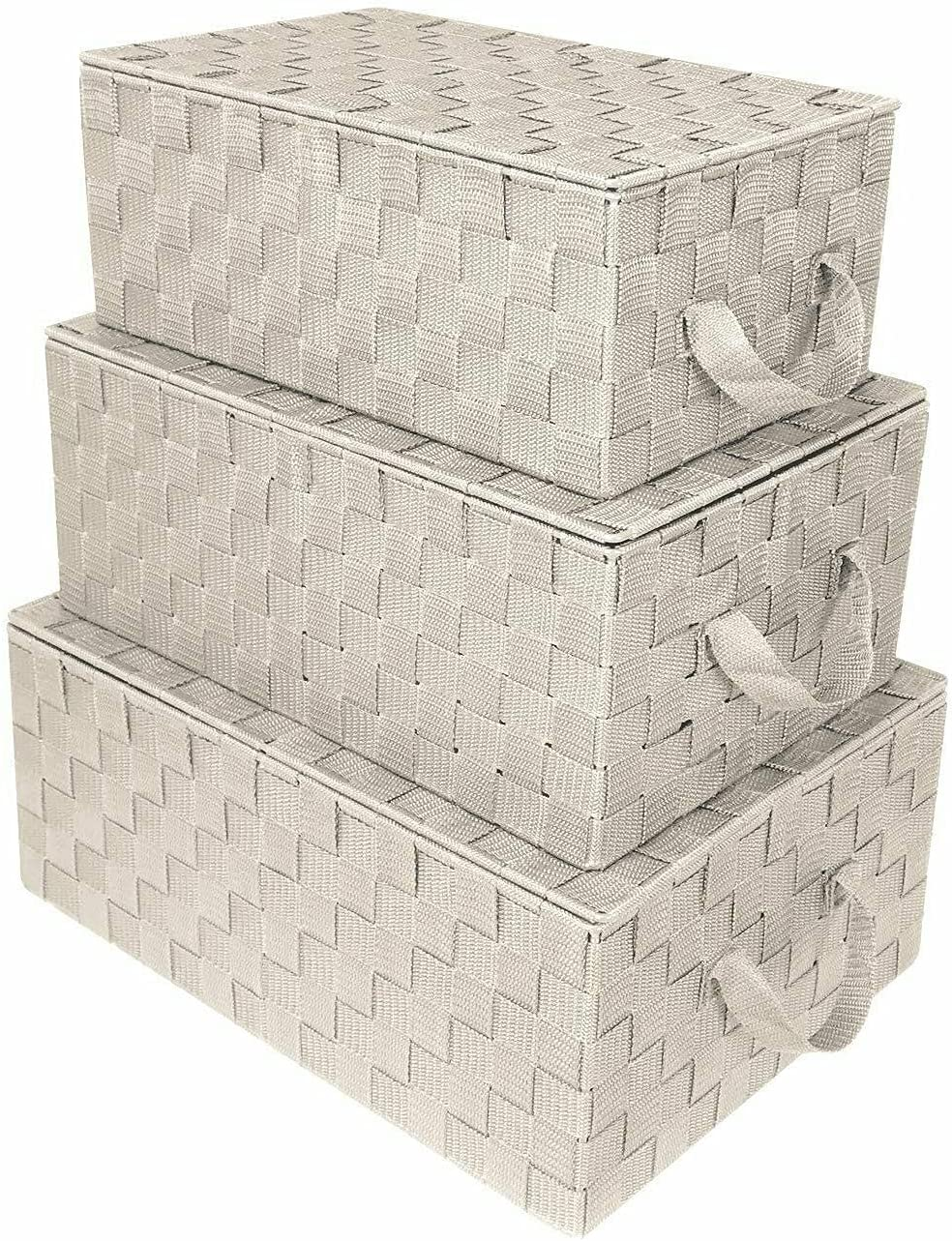 HUIJK Storage Selling Box Woven Lid Basket Tote Cube Stack Bin Container mart