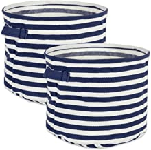DII Cabana Stripe Collapsible Waterproof Coated Anti-mold Cotton Round Basket Bin, Perfect For Laundry Room, Bedroom, Nursery, Dorm, Closet, and Home Organization, Set of 2 Small - French Blue