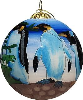 Art Studio Company Hand Painted Glass Christmas Ornament - Penguin