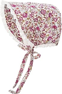 Huggalugs Baby Girls Seersucker or Flower Print Bonnet with Eyelet Lace in 5 Color Choices