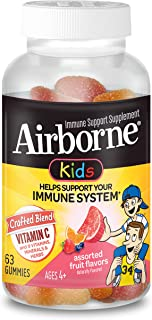 Airborne Vitamin C 500mg (per serving) - Assorted Fruit Flavored Kids Gummies (63 count in a bottle), Gluten-Free Immune S...