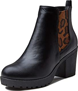 Dailyshoes Ankle Boots For Women Chunky Women's Chunky Elastic Chelsea Platform Bootie