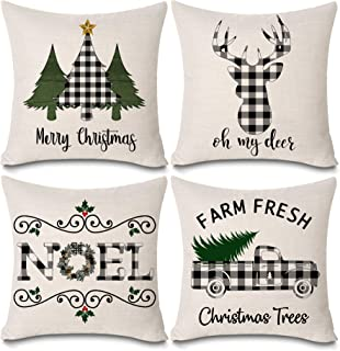 KACOPOL Christmas Buffalo Plaids Deer Christmas Tree Farmhouse Truck Noel Pillow Covers Cotton Linen Throw Pillow Case Cushion Cover 18