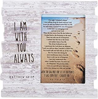 Dicksons I Am with You Footprints Matthew 28:20 Wood 8 x 8 Photo Frame Plaque