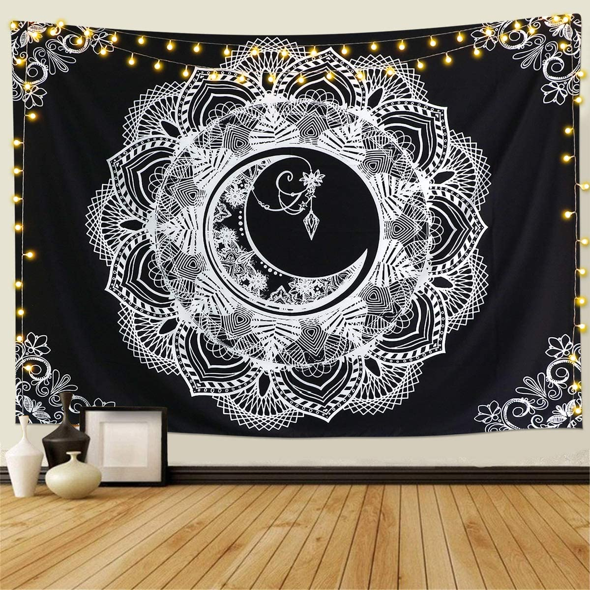 Sale Cheap sale special price KHOYIME Mandala Tapestry Black and Hippie Tapestries White Flowe