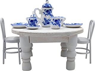 1 12 scale dollhouse accessories - Doll House Wooden Table, Mini Chairs, 11PCS Blue & White Ceramic Miniature Tea Set - Kitchen Dollhouse Miniatures Bundle for Fairy Gardens & Dollhouse Decor